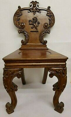 Antique Lion Carved Hall CHAIR Oak Solid Wood