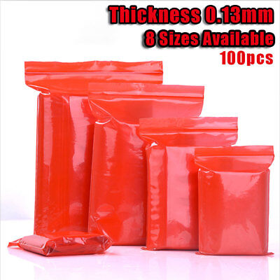 100x Red Translucent Mylar Ziplock Bag Clear Resealable Food Grade Pouch 8 Sizes