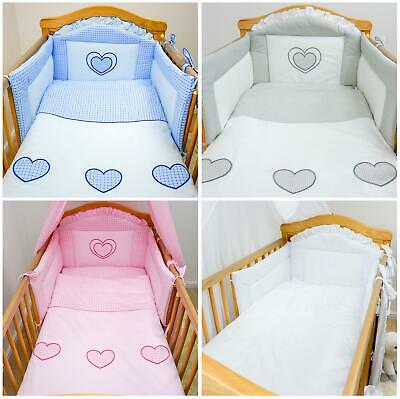 6 Piece pcs Embroidered Baby Bedding + Sheet Set For Cot / Cot Bed - Hearts