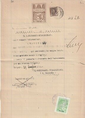 LIBYA , Old Document of Tripoli Municipality Revenue Stamps 8 L. & 2.50 MAL 1944