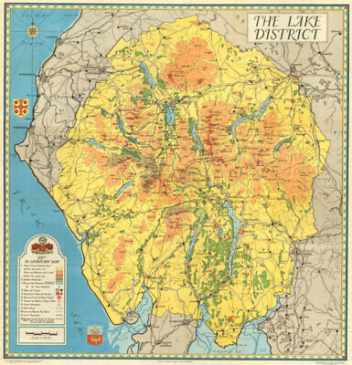 Vintage tourist map of the English Lake District. Cumbria 1938 old vintage