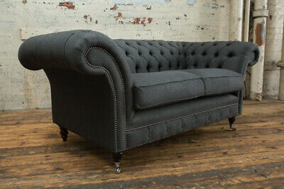 Modern Handmade 2 Seater Charcoal Grey Wool Chesterfield Sofa Couch Chair
