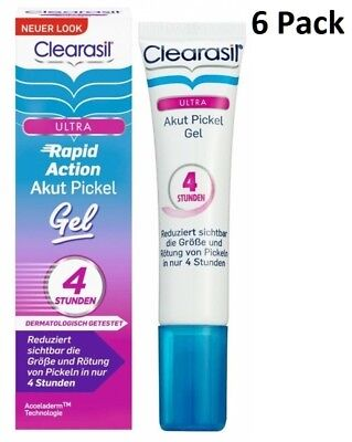 6 x 15 ml Clearasil Ultra 4 Hrs Rapid Action Treatment Gel