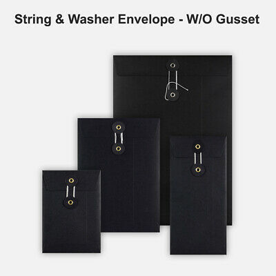All Size Black String&Washer Without Gusset Envelope Mailer Button-Tie Free P&P