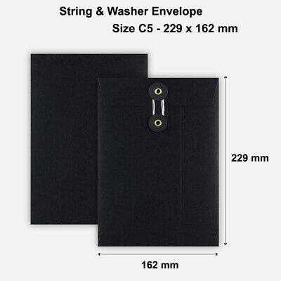 C5 - Black color String & Washer Gusset Envelopes Button Tie - 229 x 162 mm