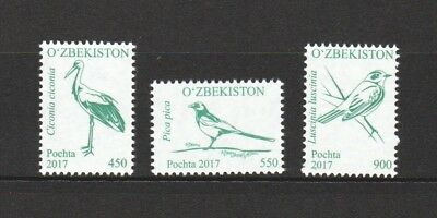Uzbekistan 2017 Birds Part 2 Comp. Set Of 3 Stamps In Mint Mnh Unused Condition