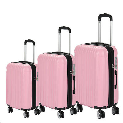 Set of 3 Luggage Set Expandable Travel Trolley Case w/TSA Lock ABS Wheels Pink