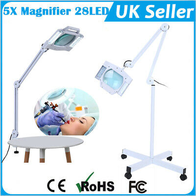 5x Diopter Facial Magnifying Lamp Magnifier w/Bench Clamp Inspection Light 28LED
