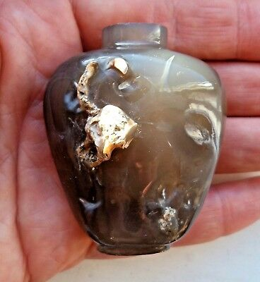 Original Antique Chinese Qing Dynasty Agate Snuff Bottle