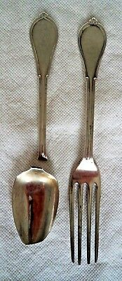GORHAM / VICTORIAN c1880 SPOON & FORK SET - SOLID / STERLING SILVER – TO GEORGE