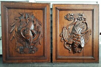 two antique pair wooden oak panel carved  from France Fish and Bird