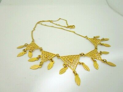 """Antique 24K Pure Solid Gold Hand Wrought Custom Dangle Necklace  