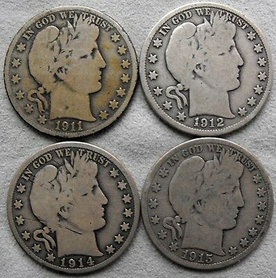 Lot 4 Barber Silver Half Dollars 1911-S 1912 1914-S 1915-S - No Reserve