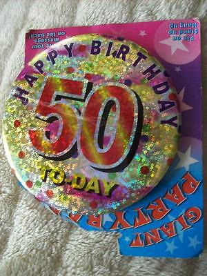 50th Card + 50 today Big Birthday Badge + 3 Ice Fountains Cake Decor, Job Lot