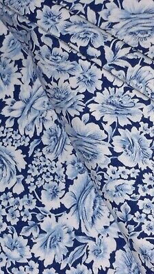 W💙W! FABRIC SALE $4 FULL YARD Sky Navy Blue White Floral Sewing Quilters Cotton