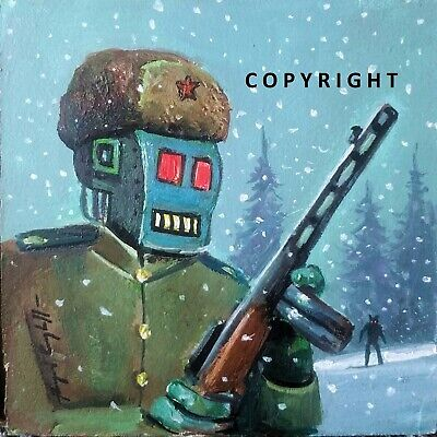 "Original ""russian Robot Hunting Werewolf"" - Oil On Board - By Raymond Campbell"