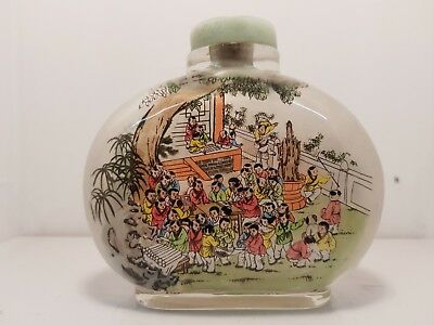 Large Chinese Glass Snuff Bottle - Reversed Painted