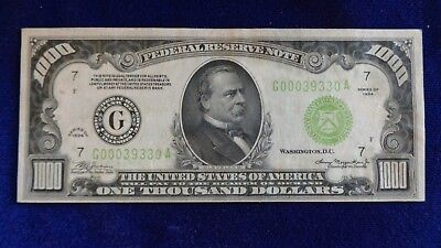1934-A $1000 Federal Reserve Note Bill Currency Fr. 2211-G