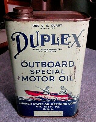 Vintage Quaker State Oil Co., One Quart Duplex Outboard Special Motor Oil Can