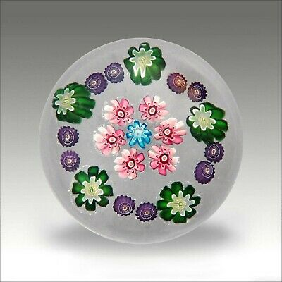 Clichy mini antique French millefiori glass paperweight / presse papiers