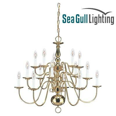 """Sea Gull 3414-02 Traditional 15-Light 31"""" Chandelier, Polished Brass"""