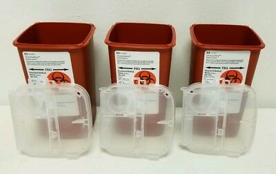 3 X Sharps Container 1 Quart Biohazard Needle Disposal 1 Qt Size Tattoo Kendall