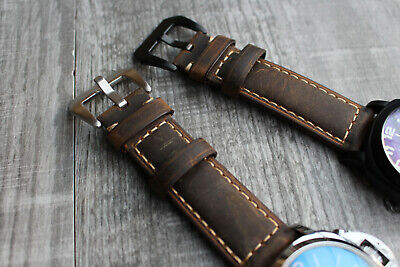 For Panerai Luminor Marina 24mm Genuine Brown Calf Leather Watch Strap Band