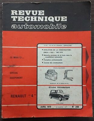 Revue technique automobile - N° 288 - RENAULT 4 - Avril 1970 (auto, car)