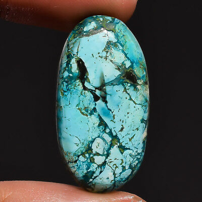 21.9 Ct. Natural Turquoise Oval Cabochon Gemstone 30X16X5 Mm Ks-7838