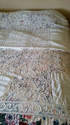 """VINTAGE ANTIQUE CROCHET AND EMBROIDERY LINEN TABLECLOTH 10'x 68"""""""