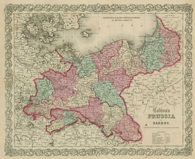 """""""Colton's Prussia and Saxony"""". Eastern Germany & Northwest Poland 1863 old map"""