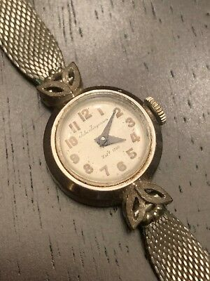 *look* 14K Solid White Gold Ladies Vintage Estate Jules Jurgensen 17J Wristwatch
