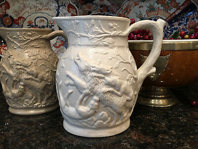 Antique English Stoneware Jug Pitcher Razorback Boar Stag Dog Hunting Drabware