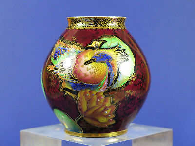 Vintage 1930's Carlton Ware Crested Bird And Waterlily Ruby Ground Lustre Vase
