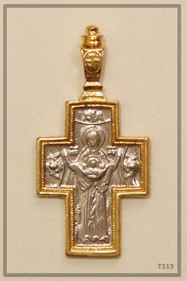 Orthodox Silver Gold Cross Pendant Jc Jesus Christ Crucifix (T115)
