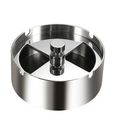 High-grade Stainless Steel Round Revolving Ashtray with Spinning Tray I9Y9