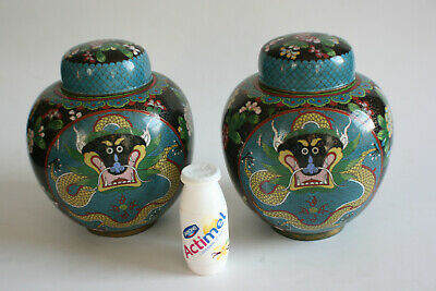 Pair of 20th Century Chinese Bronze Cloisonne Dragon Jar with Lid