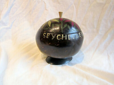 A Vintage Carved Coconut Box From Seychelles