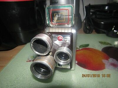 Vintage Kodak Brownie 8 mm Triple lens Movie Camera with case in VGC