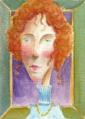 ACEO original painting watercolor / Whimsical / Fantasy Art / Mrs Rose...