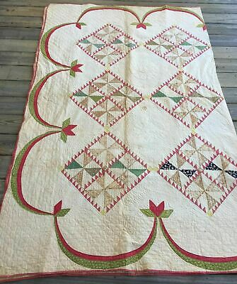 Antique Handmade Pinwheel Quilt Bed Cover Blanket 81.5x104