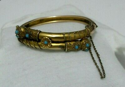 Antique Victorian Rose Gold Filled Colour Etruscan Turquoise?  Hinged Bracelet