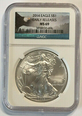2014 $1 1oz Silver American Eagle Early Releases MS-69 NGC