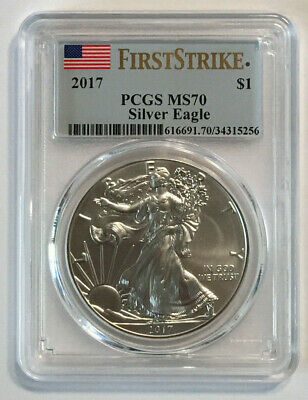 2017 $1 1oz Silver American Eagle PCGS MS-70 (First Strike) US Flag Label