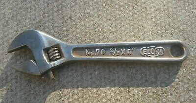 "Vintage Elora No70  3/8x6"" Adjustable Spanner Garage / Workshop Car Tool Used"