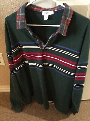 11400a19e56 J CREW Long Sleeve Vintage Rugby/Polo Shirt XL Green Stripes MINT CONDITION