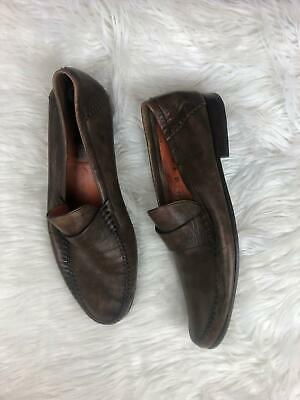 dab0bca7314 Santoni Brown Leather Men s Size 12 Dress Slip On Shoes Italy Loafers Flats