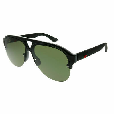 50306e393ce Gucci GG 0170S 001 Shiny Black Plastic Aviator Sunglasses Green Lens