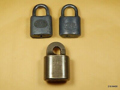 Three (3) Antique Vintage Padlock Reg'd Mail Brass / Illinois / Corbin - No Key