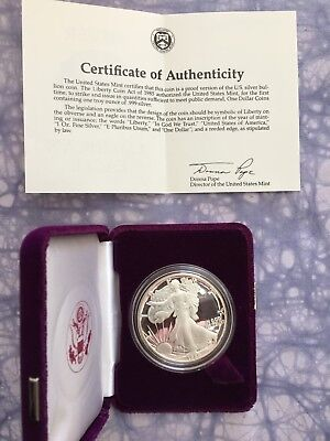 1989  American Eagle Proof 1 Troy Oz Silver Bullion Coin With Box & Coa